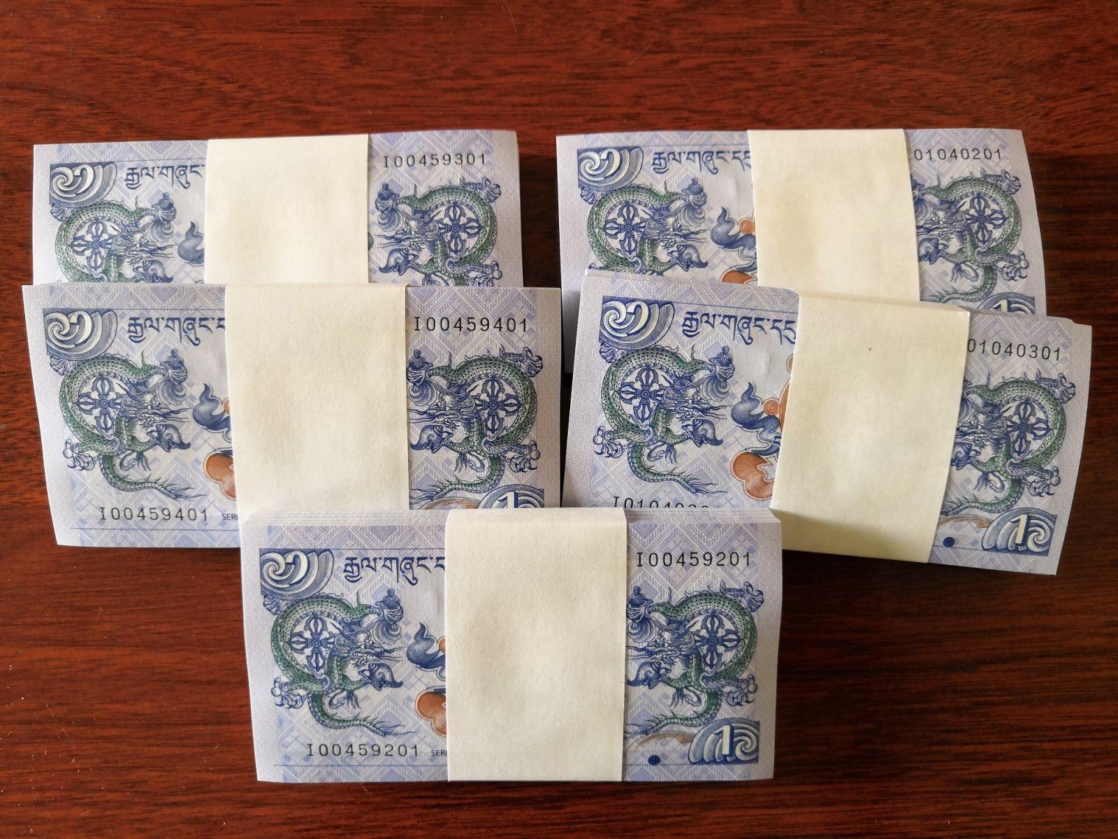 Tiền Hình Rồng Bhutan 1 Ngultrum - 100 Tờ