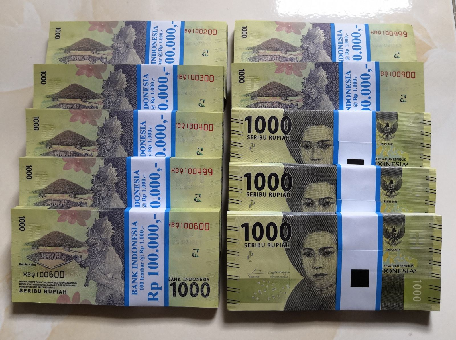 Tiền 1000 Rupiah Indonesia - 100 Tờ