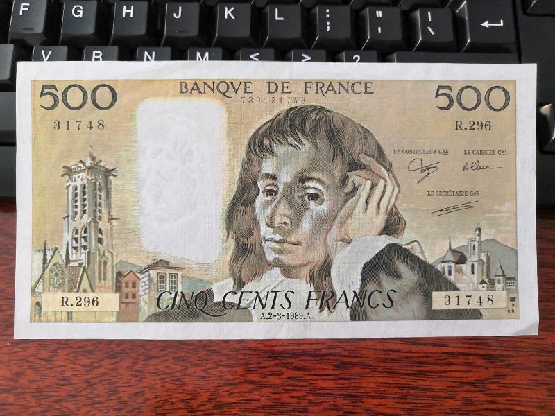 500 Francs Pháp phát hành 2-3-1989